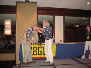 Bob getting his medal